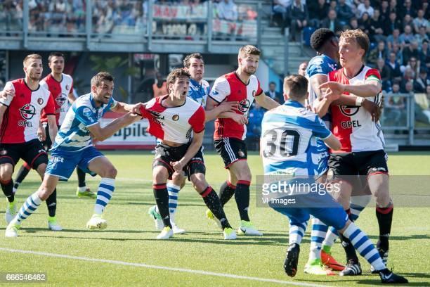 Bram van Polen of PEC Zwolle Eric Botteghin of Feyenoord Dirk Marcellis of PEC Zwolle JanArie van der Heijden of Feyenoord Kingsley Ehizibue of PEC...