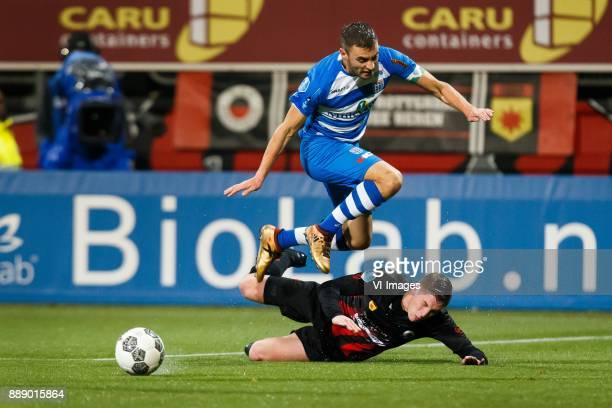 Bram van Polen of PEC Zwolle Jinty Caenepeel of Excelsior during the Dutch Eredivisie match between sbv Excelsior Rotterdam and PEC Zwolle at Van...