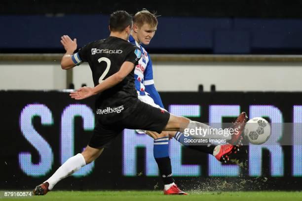 Bram van Polen of PEC Zwolle Martin Odegaard of SC Heerenveen during the Dutch Eredivisie match between SC Heerenveen v PEC Zwolle at the Abe Lenstra...