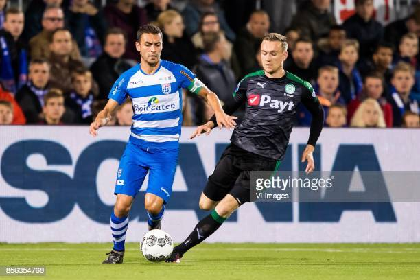 Bram van Polen of PEC Zwolle Mike te Wierik of FC Groningen during the Dutch Eredivisie match between PEC Zwolle and FC Groningen at the MAC3Park...