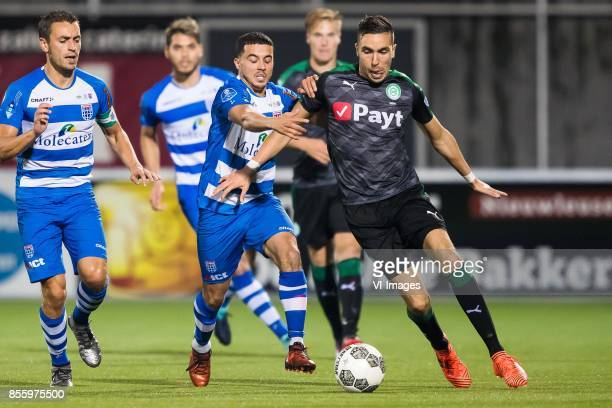 Bram van Polen of PEC Zwolle Mustafa Saymak of PEC Zwolle Mimoun Mahi of FC Groningen during the Dutch Eredivisie match between PEC Zwolle and FC...