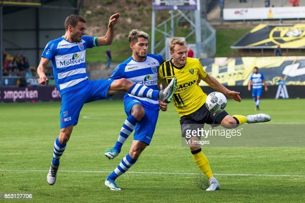 Bram van Polen of PEC Zwolle Nicolas Freire of PEC Zwolle Lennart Thy of VVV Venlo during the Dutch Eredivisie match between VVV Venlo and PEC Zwolle...