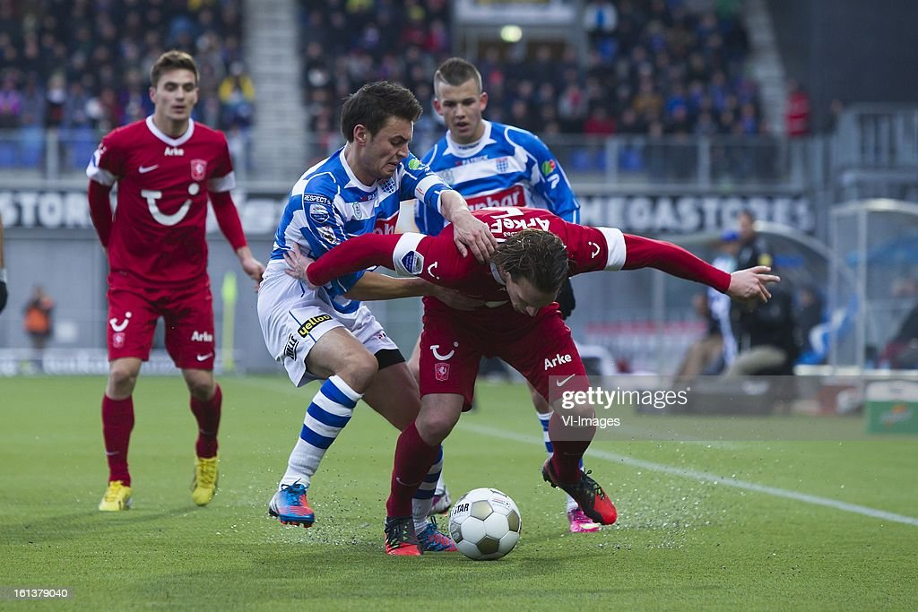 Bram van Polen of PEC Zwolle, Robbert Schilder of FC Twente during the Dutch Eredivisie match between PEC Zwolle and FC Twente at the IJsseldelta Stadium on february 10, 2013 in Zwolle, The Netherlands