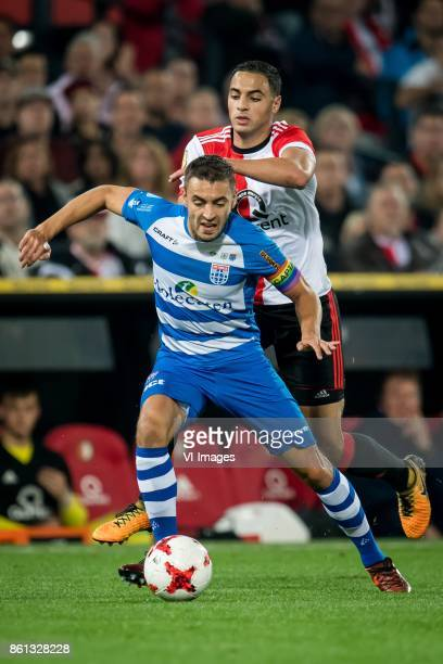 Bram van Polen of PEC Zwolle Sofyan Amrabat of Feyenoord during the Dutch Eredivisie match between Feyenoord Rotterdam and PEC Zwolle at the Kuip on...