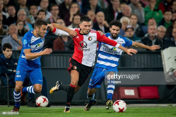 Bram van Polen of PEC Zwolle Steven Berghuis of Feyenoord Youness Mokhtar of PEC Zwolle during the Dutch Eredivisie match between Feyenoord Rotterdam...