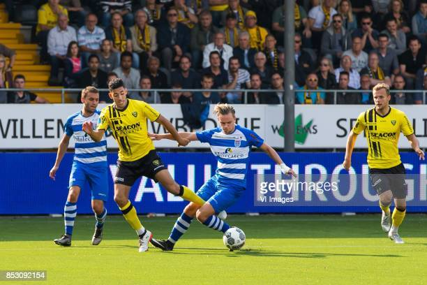 Bram van Polen of PEC Zwolle Tarik Tissoudali of VVV Venlo Wouter Marinus of PEC Zwolle Lennart Thy of VVV Venlo during the Dutch Eredivisie match...
