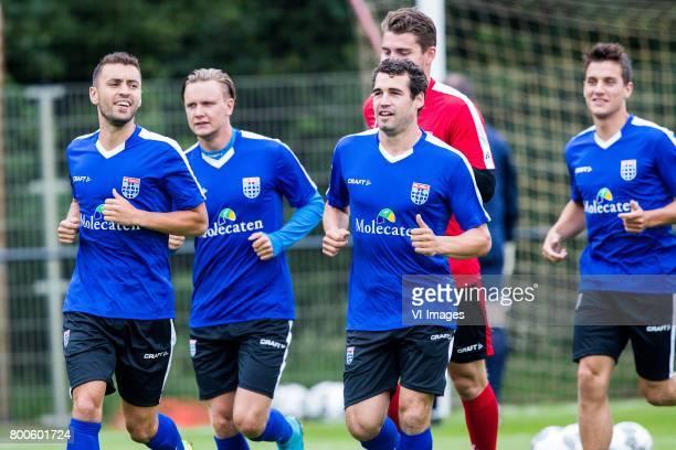 Bram van Polen of PEC Zwolle Wouter Marinus of PEC Zwolle goalkeeper Mickey van der Hart of PEC Zwolle Dirk Marcellis of PEC Zwolle Erik Bakker of...