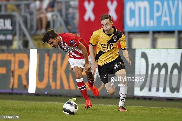 Bram van Vlerken of Jong PSV Brandon Barker of NAC Breda during the Jupiler League match between NAC Breda and Jong PSV Eindhoven at the Rat Verlegh...
