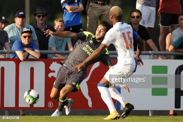 Bram van Vlerken of PSV Souleyman Doumbia of Grasshopper Club Zurich during the friendly match between Grasshopper Club Zürich and PSV Eindhoven at...