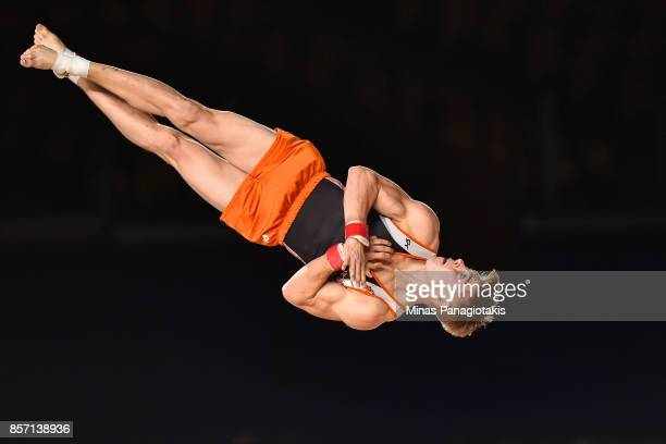 Bram Verhofstad of Netherlands competes on the floor exercise during the qualification round of the Artistic Gymnastics World Championships on...