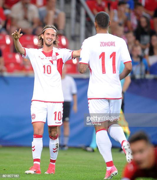 bramka gol radosc Lucas Qvistorff Andersen Kenneth Zohore during the UEFA European Under21 match between Czech Republic and Denmark at Arena Tychy on...