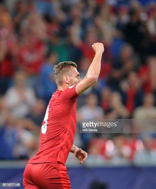 bramka gol radosc Tomas Chory during the UEFA European Under21 match between Czech Republic and Denmark at Arena Tychy on June 24 2017 in Tychy Poland