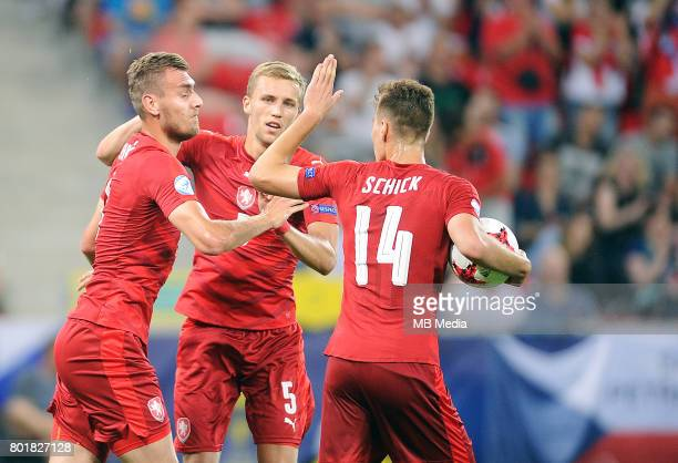 bramka gol radosc Tomas Chory Tomas Soucek Patrik Schick during the UEFA European Under21 match between Czech Republic and Denmark at Arena Tychy on...