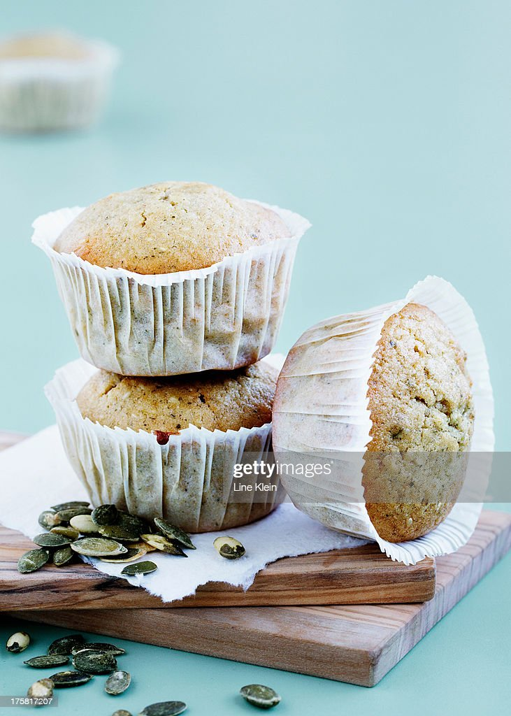 Bran muffins with pumpkin seeds : Stock Photo