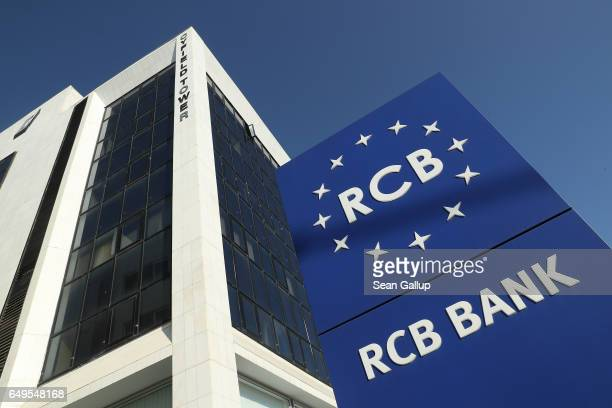 A branch of Russianowned RCB bank stands on March 8 2017 in Nicosia Cyprus Cyprus has largely recovered from its 20122013 economic crisis The country...