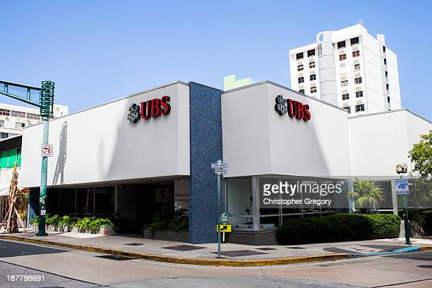 A branch of Swiss bank UBS which manages close to half of Puerto Rico's wealth on November 12 2013 in the Condado neighborhood of San Juan Puerto...