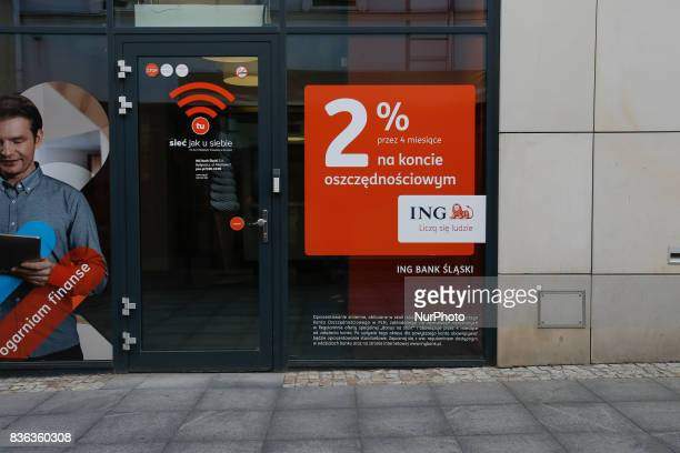 A branch of the ING bank is seen in the old center of town with advertisements offering 2 percent interest on savings accounts