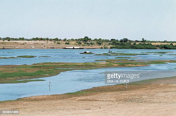 Branch of the Niger river delta during the dry season Mali