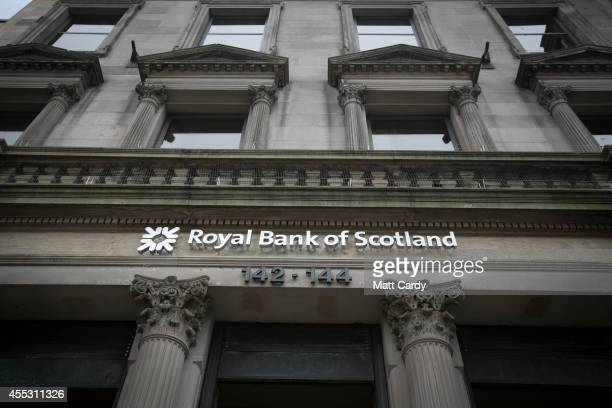 A branch of the Royal Bank of Scotland is seen ahead of the Scottish Referendum on September 12 2014 in Edinburgh Scotland The latest polls in...