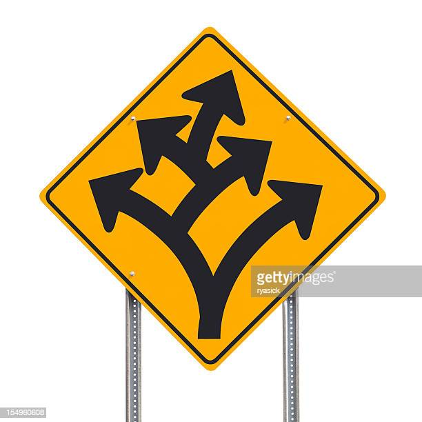 Branching Off or Division Ahead Traffic Sign Post Isolated