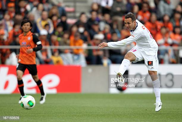 Branco whose real name is Wellington Clayton Goncalves Dos Santos of Cerezo Osaka shots at goal during the JLeague match between Shimizu SPulse and...