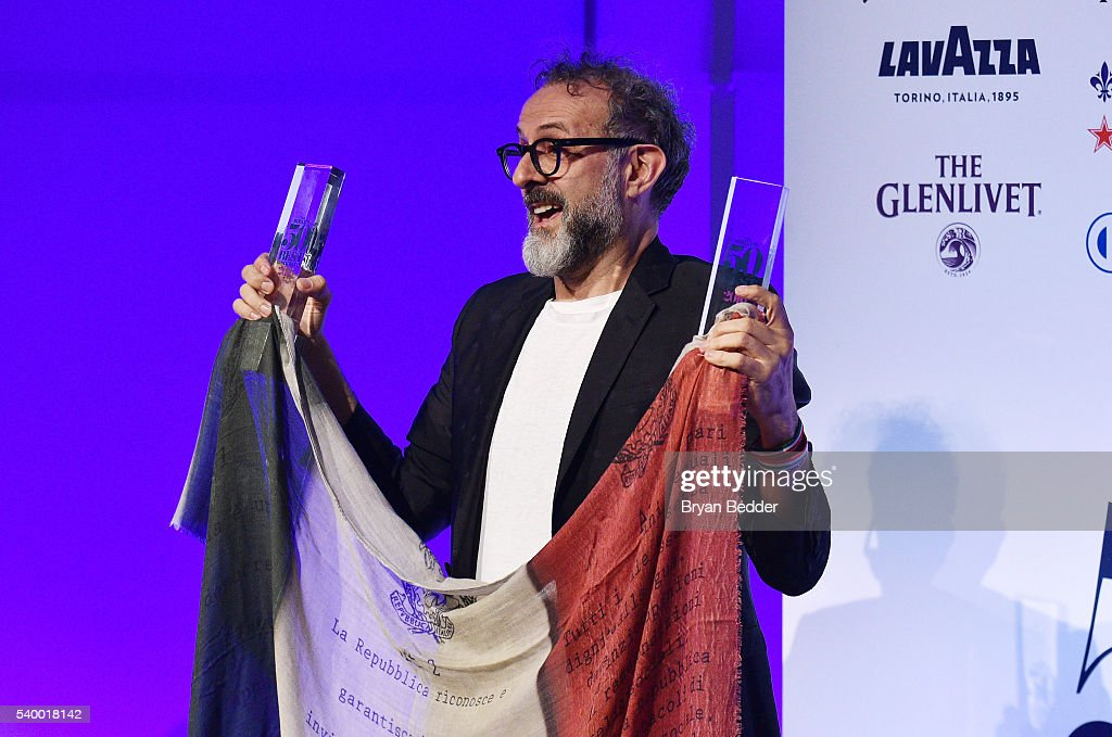 LAVAZZA brand ambassador and chef Massimo Bottura accepts his Best Restaurant Award at the World's 50 Best Restaurants 2016 Awards at Cipriani Wall...