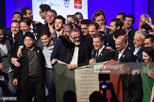 LAVAZZA brand ambassador and chef Massimo Bottura celebrates his Best Restaurant Award with the top 50 chefs at the World's 50 Best Restaurants 2016...