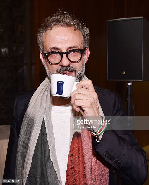 LAVAZZA brand ambassador and chef Massimo Bottura drinks LAVAZZA coffee at the World's 50 Best Restaurants 2016 Awards at Cipriani Wall Street on...