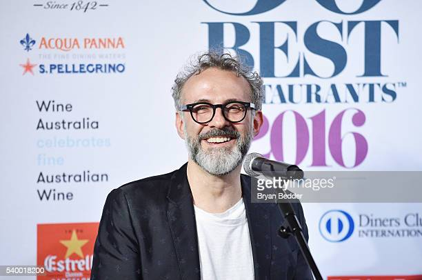 LAVAZZA brand ambassador and chef Massimo Bottura speaks during a press conference at the World's 50 Best Restaurants 2016 Awards at Cipriani Wall...