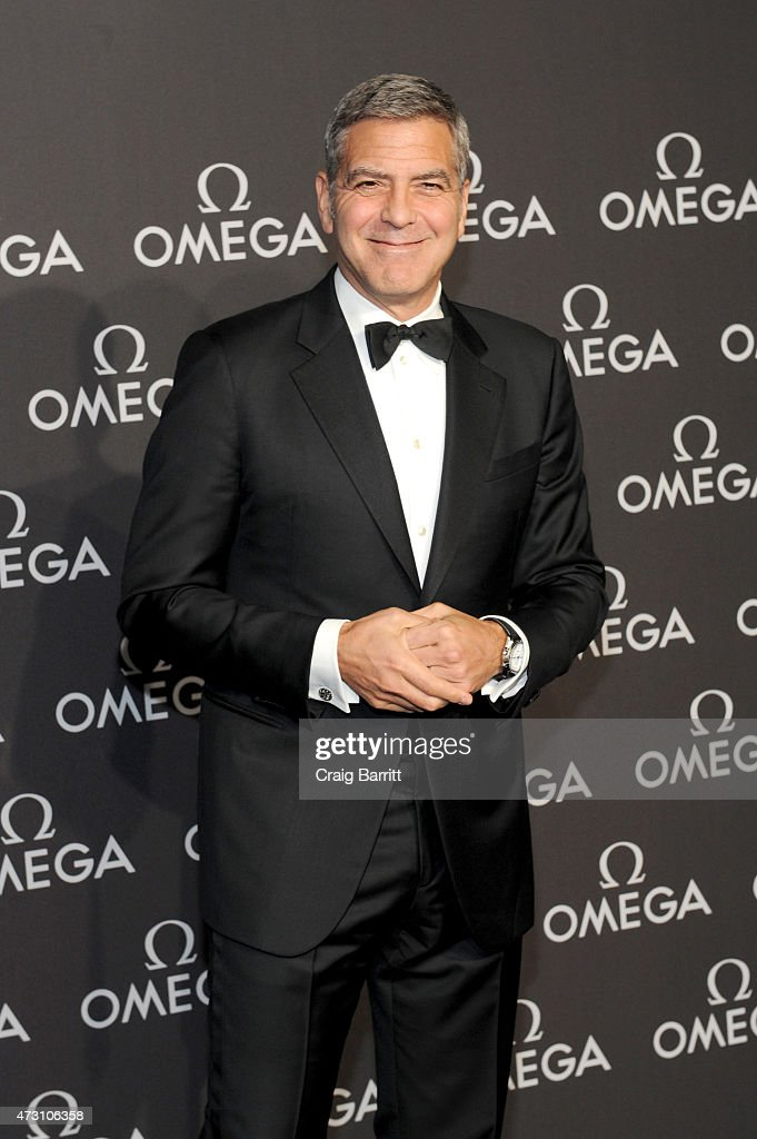 Brand Ambassador George Clooney attends the OMEGA Speedmaster Houston Event at Western Airways Airport Hangar on May 12, 2015 in Sugar Land, Texas.