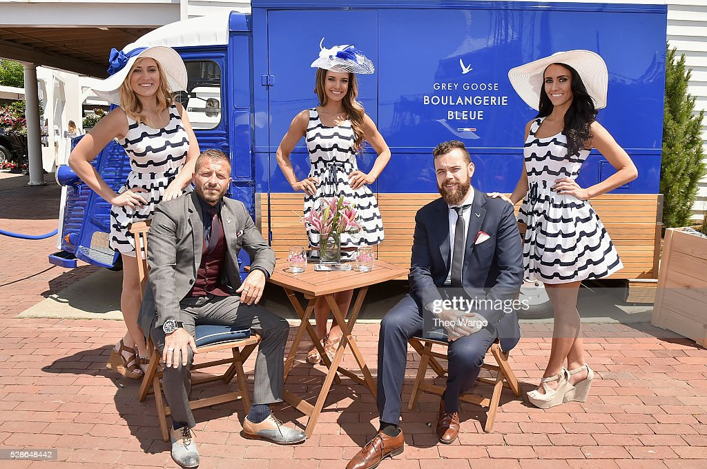 Brand Ambassadors Guillaume Jubien (L) and Julien Lafond make the U.S. debut of 'The Worlds Most Intimate Martini Bar', disguised as a beautifully designed camionnette, at the 142nd Kentucky Derby on May 6, 2016 in Louisville, Kentucky.