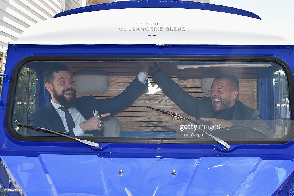 Brand Ambassadors Julien Lafond (L) and Guillaume Jubien make the U.S. debut of 'The Worlds Most Intimate Martini Bar', disguised as a beautifully designed camionnette, at the 142nd Kentucky Derby on May 6, 2016 in Louisville, Kentucky.