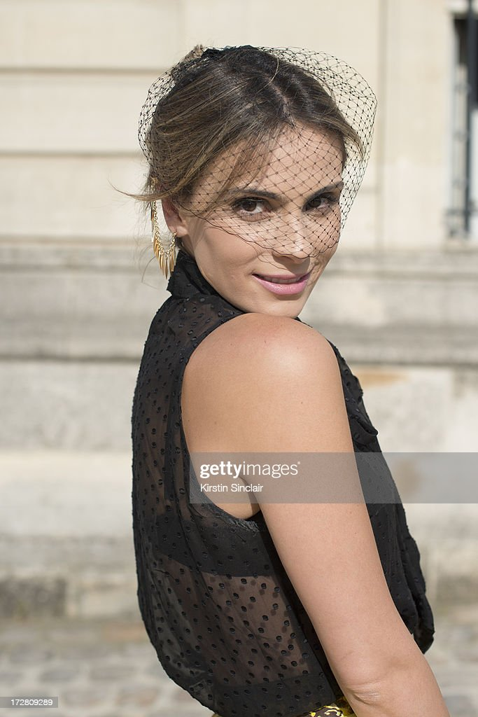 Brand Consultant Wilma Helena Faisson wears a Mixed top and Dior headpiece on day 1 of Paris Collections: Womens Haute Couture on July 01, 2013 in Paris, France.