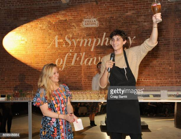"Brand Director of Stella Artois at AnheuserBusch InBev Carolyn Zwiener and Chef Jonah Reider joined Stella Artois to celebrate the brand's ""Host One..."
