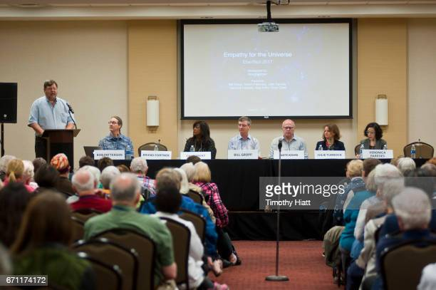 Brand Fortner Bob Patterson Chaz Ebert Bill Gropp Nate Kohn Julie Turnock and Veronica Paredes attend a panel discussion at Ebertfest 2017 on April...