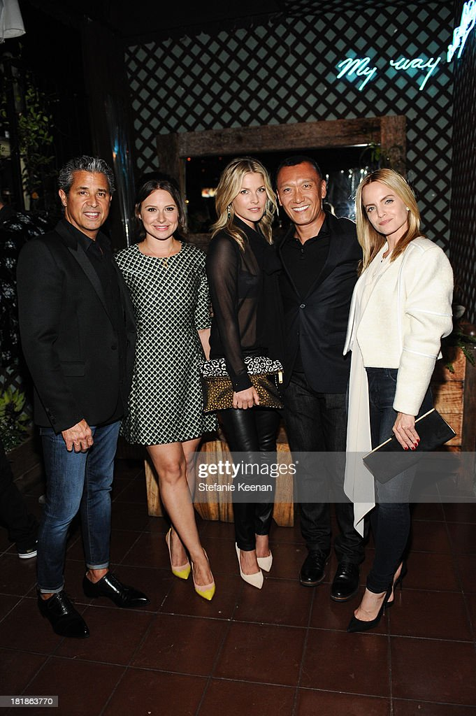 J Brand founder Jeff Rudes, Katie Lowes, Ali Larter, Joe Zee and Mena Suvari attend an intimate dinner event hosted by Elle magazine and J Brand at Petit Ermitage Hotel on September 25, 2013 in West Hollywood, California.