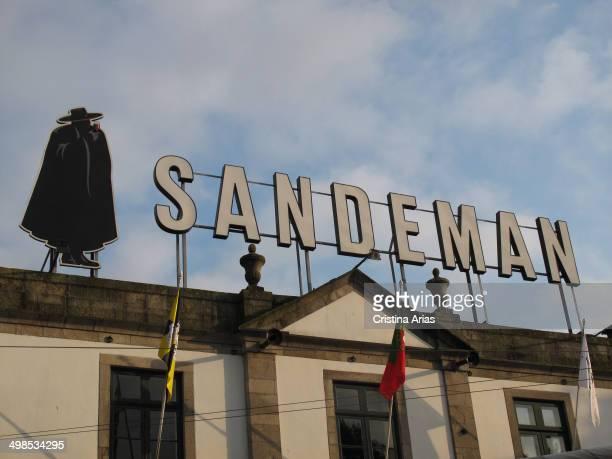 brand logo Sandeman port wine located high building warehouses in Vila Nova de Gaia Portugal April 2014