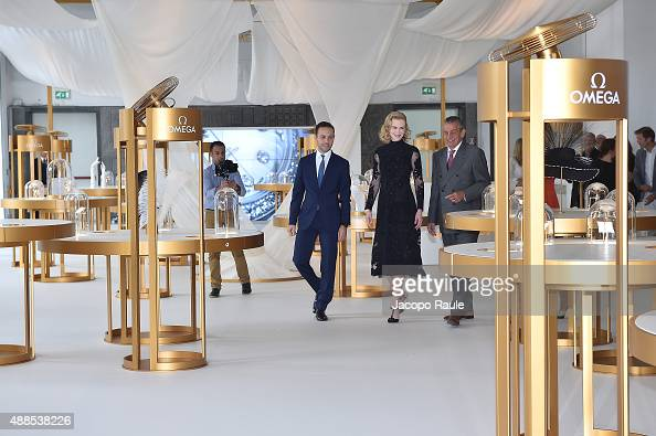 Brand Manager Omega Malik Bey Actress Nicole Kidman and President Omega Stephen Urquhart attend OMEGA 'Her Time' Exhibition Opening at Triennale di...