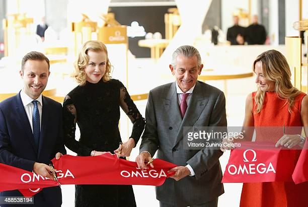 Brand Manager Omega Malik Bey Actress Nicole Kidman President Omega Stephen Urquhart and Country Manager Swatch Group Italia Burdese Laura attend...