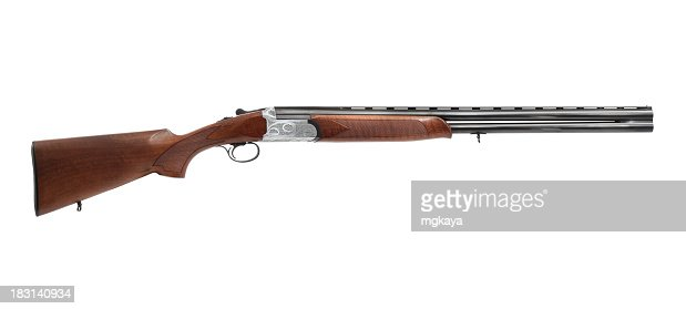 Brand new brown and metallic shotgun