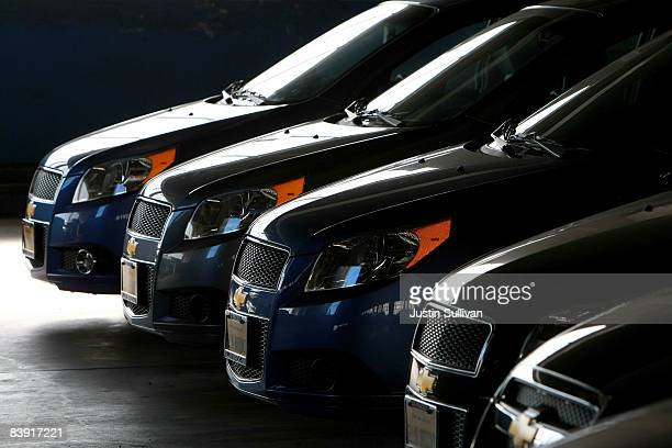 Brand new Chevrolet Aveo's sit in storage at Ellis Brooks Chevrolet December 4 2008 in San Francisco California The fate of car dealerships hang in...
