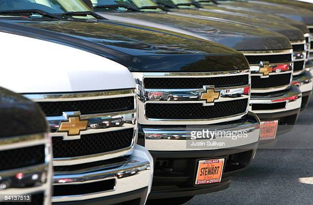 Brand new Chevrolet trucks are seen on display at Stewart Chevrolet December 29 2008 in Colma California General Motors and Chrysler are scheduled to...