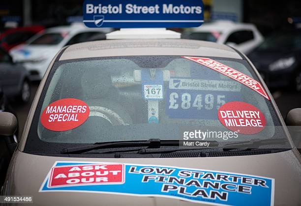 A brand new Fiat car is offered for sale on the forecourt of a main motor car dealer in Brislington on October 6 2015 in Bristol England Latest data...