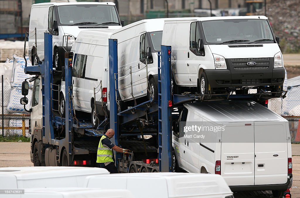 Brand new Ford Transits are seen at the docks awaiting shipping on October 25, 2012 in Southampton, England. It was announced today that carmaker Ford plans to close two UK plants next year, one in Southampton, which has been making Transit vans since 1972, and one in Dagenham, with the loss of up to 1400 jobs.