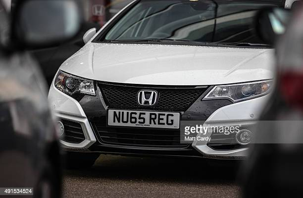 A brand new Honda car is offered for sale on the forecourt of a main motor car dealer in Brislington on October 6 2015 in Bristol England Latest data...