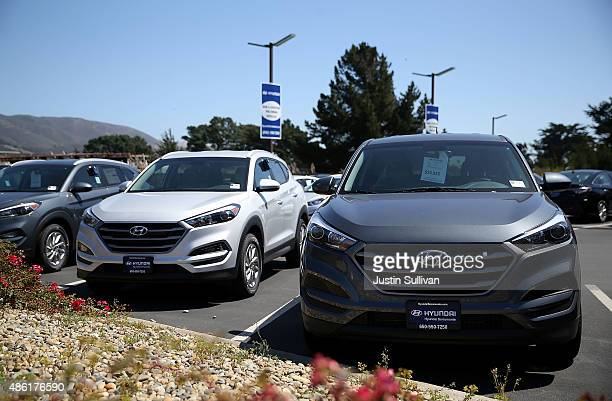 Brand new Hyundai cars are displayed at Hyundai Serramonte on September 1 2015 in Colma California South Korean exports fell sharply in August for...