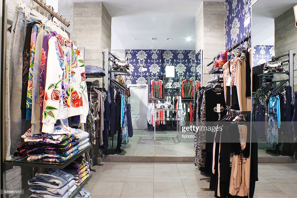 brand new interior of cloth store : Stock Photo