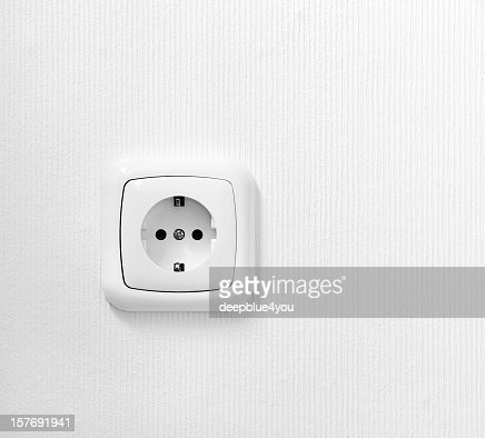 brand new outlet on a white wall