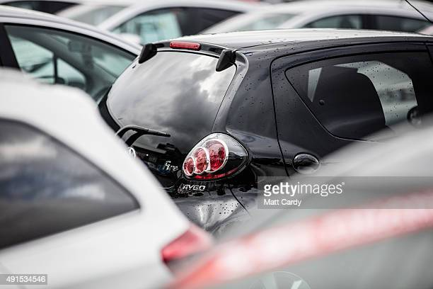 A brand new Toyota car is offered for sale on the forecourt of a main motor car dealer in Brislington on October 6 2015 in Bristol England Latest...