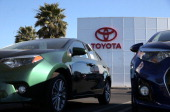 Brand new Toyota cars are displayed on the sales lot at Toyota Marin on March 19 2014 in San Rafael California Toyota Motor Corp has agreed to pay a...
